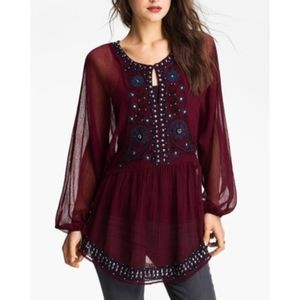 Free People Embroidered Beaded Sheer Tunic